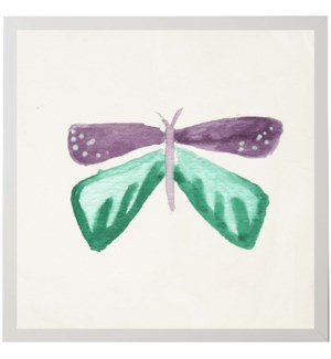 Watercolor green and purple moth with four wings