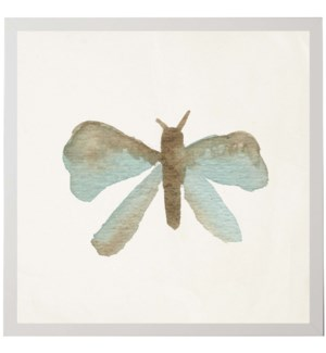 Watercolor blue and grey moth