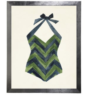 Blue and Green Chevron Bathing Suit