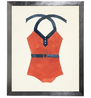 Orange Bathing Suit with Blue Belt