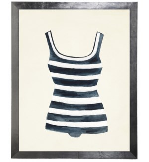 Blue and White Striped Bathing Suit