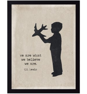 C.S. Lewis we are quote on boy with airplane silhouette