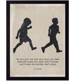 Dr. Seuss don't mind quote on two boys running silhouette
