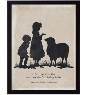 Hans Christian Anderson quote on children with sheep silhouette