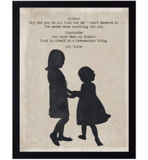 Charlotte and Wilbur quote on two girls silhouette