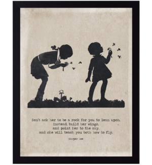 Harper Lee fly quote on girls with dandelions silhouette