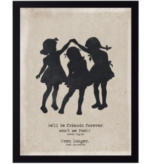 Pooh and Piglet quote on three girls silhouette