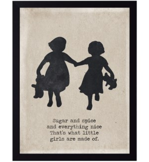 Sugar and spice quote on girls with teddy bears silhouette