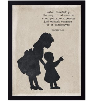 Harper Lee magic quote on girl with baby silhouette