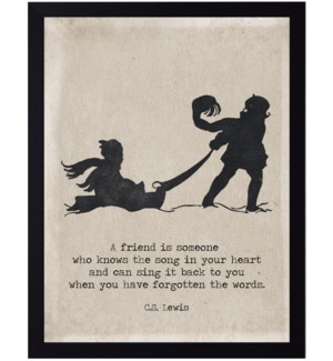 C.S. Lewis friend quote on sledding children silhouette