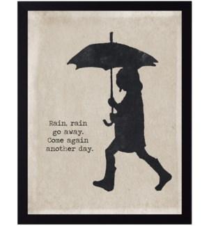 Rain go away quote on girl with umbrella silhouette