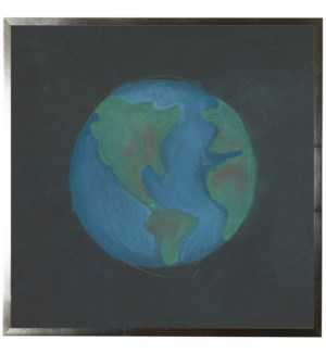 Pastel drawing of the Earth on black