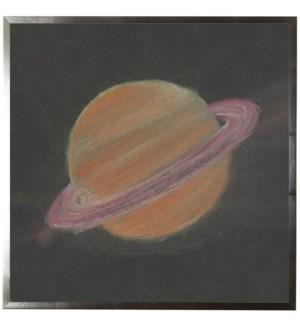 Pastel drawing of Saturn on black