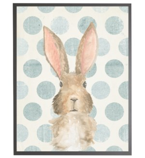 Watercolor baby Bunny on blue polka dots