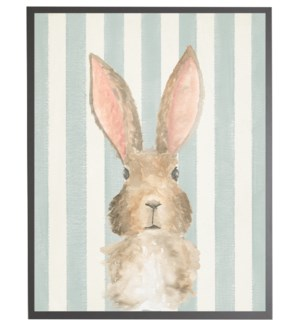 Watercolor baby Bunny on blue stripes