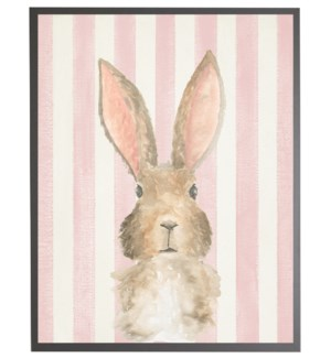 Watercolor baby Bunny on pink stripes
