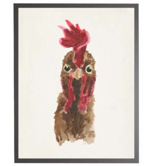 Watercolor brown rooster