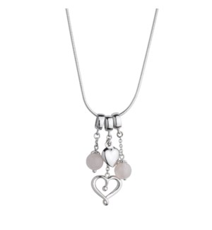 Rose Quartz Puffed and Open Hearts Pendant