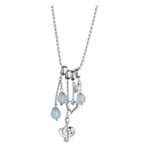 Blue Topaz Clef Note and Heart Pendant