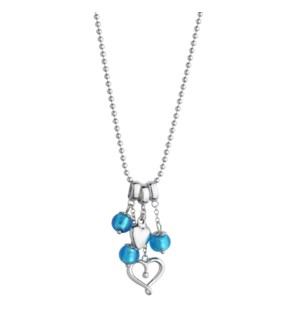 Sky Blue Murano Glass Puffed and Open Hearts Pendant