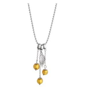 Gold Murano Glass Leaf Pendant