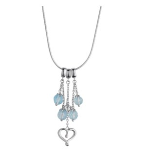 Blue Topaz Two Hearts Pendant