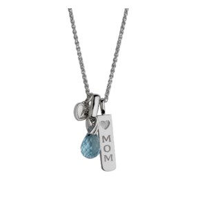 Mom with Blue Topaz Briolette Pendant