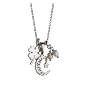 Four Leaf Clover with Faith pendant