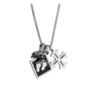 Cross with Baby Feet Pendant