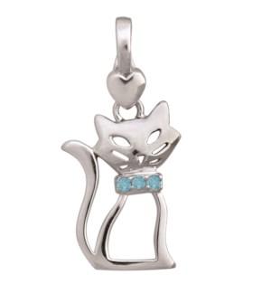 Birth Gem Cat Silhouette Charm