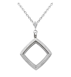 Square White Topaz Locket With Chain