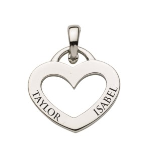 Engravable Open Heart Charm