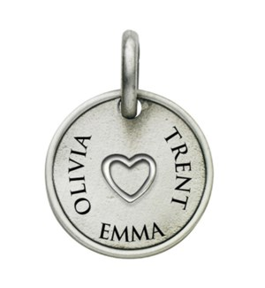 Engravable Round With Inner Heart Charm