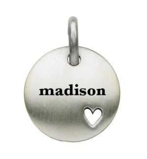 Engravable Round With Cut Out Heart Charm