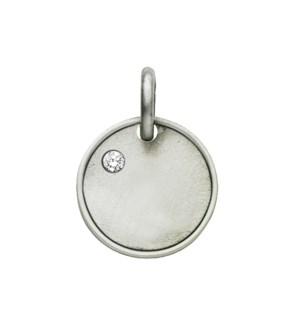 Engravable 1 Diamond Round Initial Charm