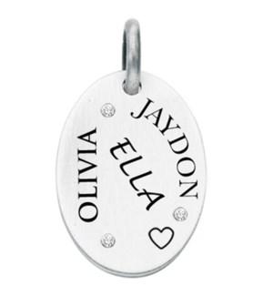 Engravable 3 Diamond Oval Charm