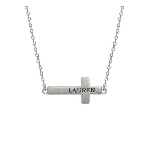 Engravable Side Ways Cross Necklace