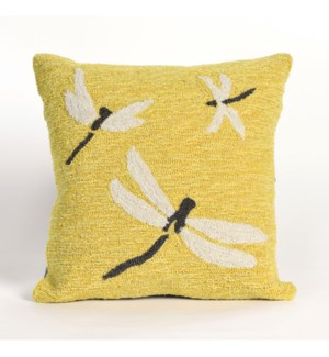 Liora Manne Frontporch Dragonfly Indoor/Outdoor Pillow Yellow