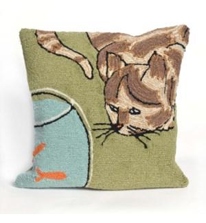 Liora Manne Frontporch Curious Cat Indoor/Outdoor Pillow Green