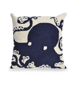 Liora Manne Frontporch Octopus Indoor/Outdoor Pillow Navy