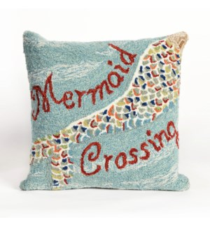 Liora Manne Frontporch Mermaid Crossing Indoor/Outdoor Pillow Water