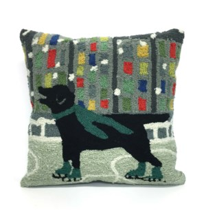 Liora Manne Frontporch Holiday Ice Dog Indoor/Outdoor Pillow Green
