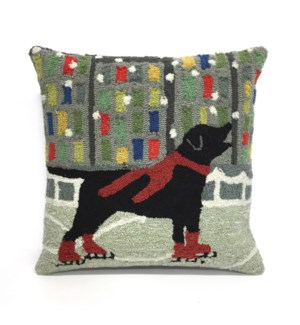 Liora Manne Frontporch Holiday Ice Dog Indoor/Outdoor Pillow Red