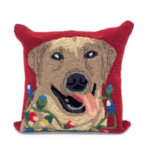 Liora Manne Frontporch Happy Holidays Indoor/Outdoor Pillow Red