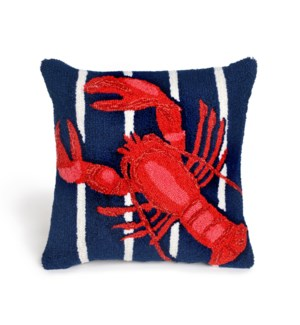 Liora Manne Frontporch Lobster On Stripes Indoor/Outdoor Pillow Navy