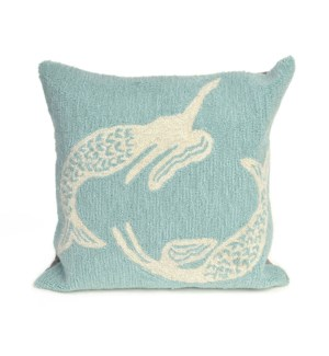 Liora Manne Frontporch Mermaids Indoor/Outdoor Pillow Aqua