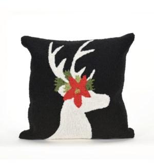 Liora Manne Frontporch Reindeer Indoor/Outdoor Pillow Black