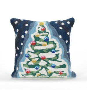 Liora Manne Frontporch  X mas Tree Indoor/Outdoor Pillow Midnight