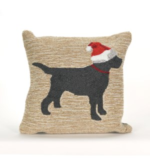 Liora Manne Frontporch Christmas Dog Indoor/Outdoor Pillow Neutral