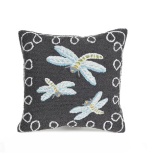 Liora Manne Frontporch Dragonfly Indoor/Outdoor Pillow Midnight